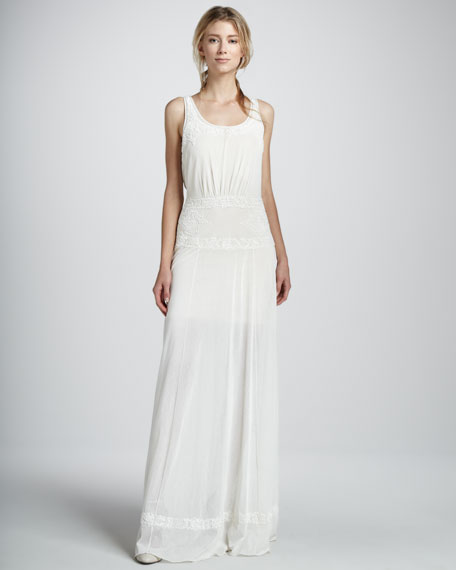 Button-Back Embroidered Long Dress