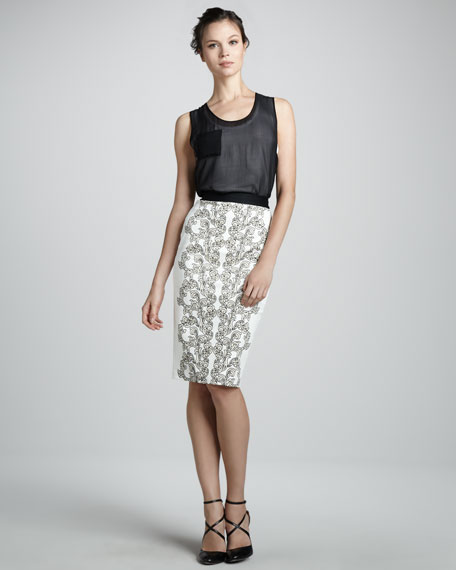 Medallion Scroll Print-Front Skirt