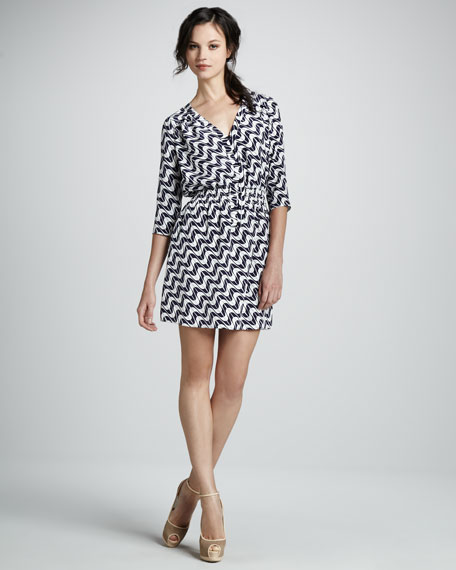 Splash-Print Silk Shirtdress
