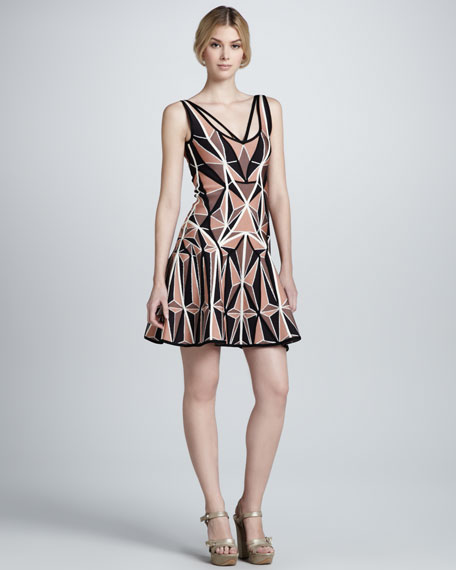 Printed Flared Bandage Dress