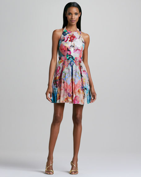Floral-Print Halter Cocktail Dress