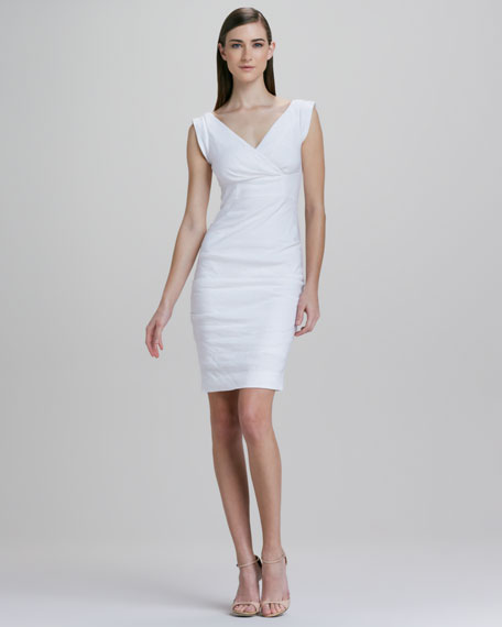 Cap-Sleeve Linen-Blend Dress