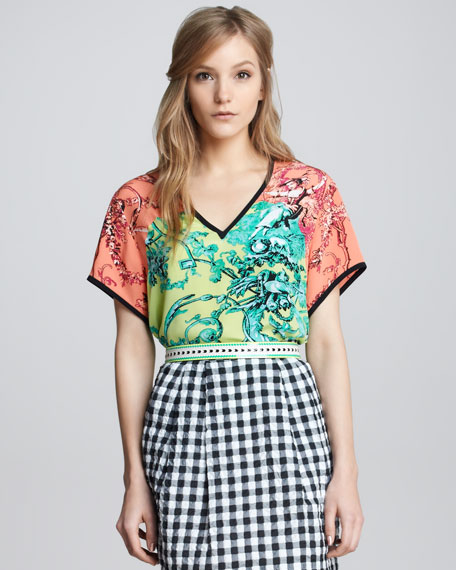 Porcelain-Print Silk Top