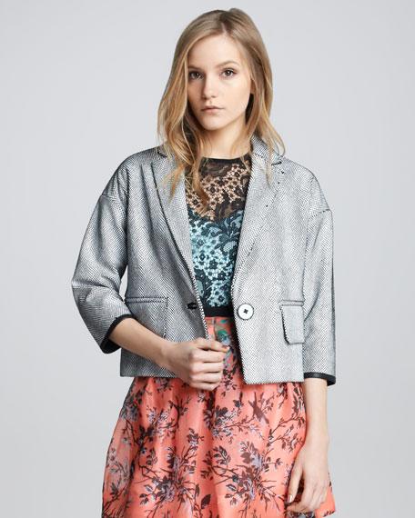 Glazed Netted Leather Jacket
