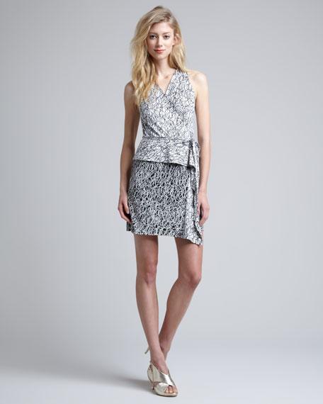 Mililani Scribble-Print Peplum Dress