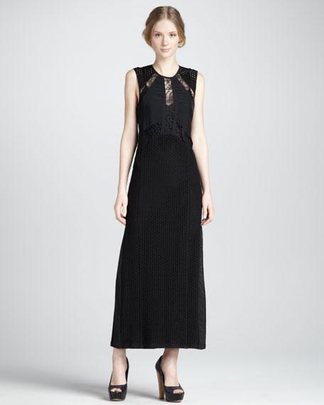 Eyelet-Inset Maxi Dress
