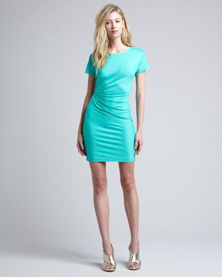 Melek Short-Sleeve Side-Drape Dress