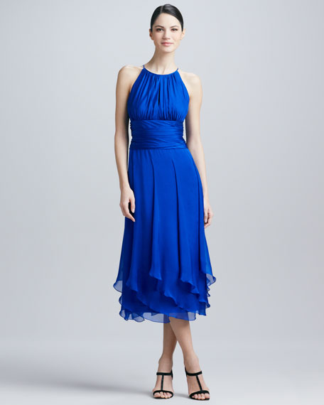 Halter-Style Chiffon Cocktail Dress