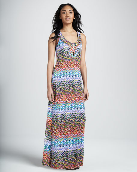 Bead-Neck Tank Maxi Dress