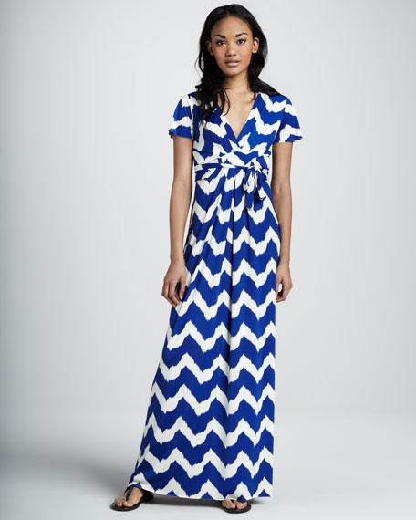 Chevron-Print Maxi Dress