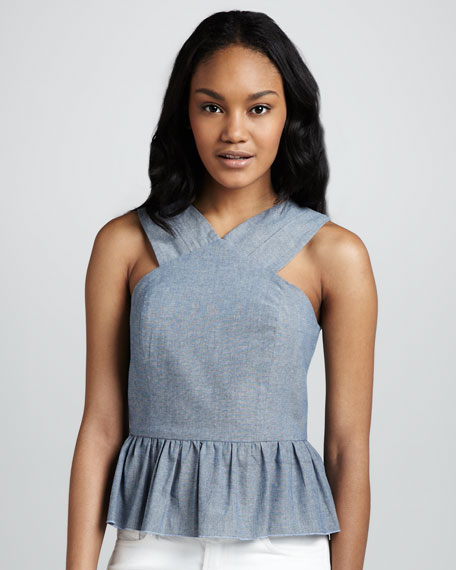 Lagoon Chambray Peplum Top