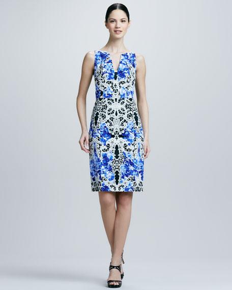 Nessa Printed Sheath Dress, Lagoon