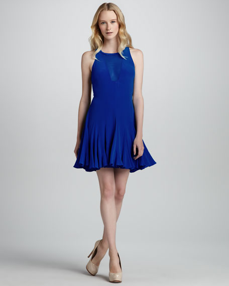 Pieced Godet Sheer-Inset Flare Dress