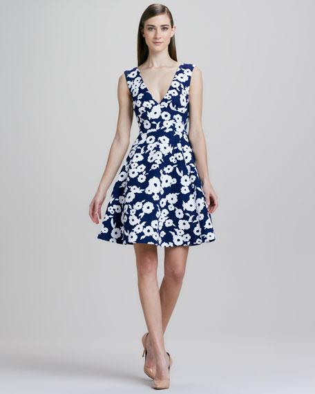 martin floral-jacquard flare dress
