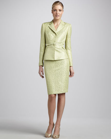 Belted Jacquard Skirt Suit