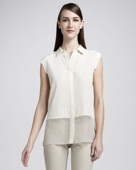 Holly Two-Tone Silk Blouse