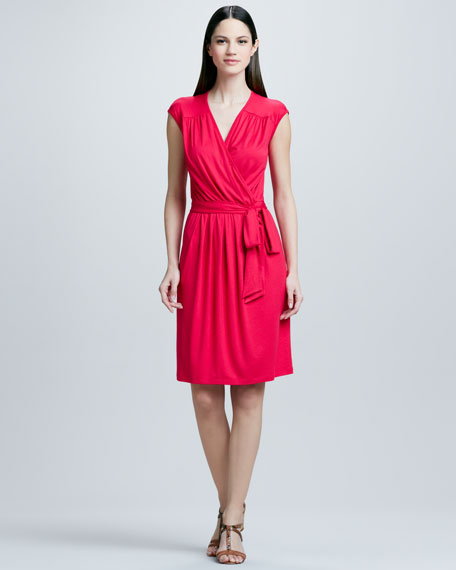 Three dots faux wrap dress with tie for Neiman marcus wedding guest dresses