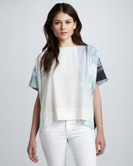 New Hankey Watercolor Printed Top