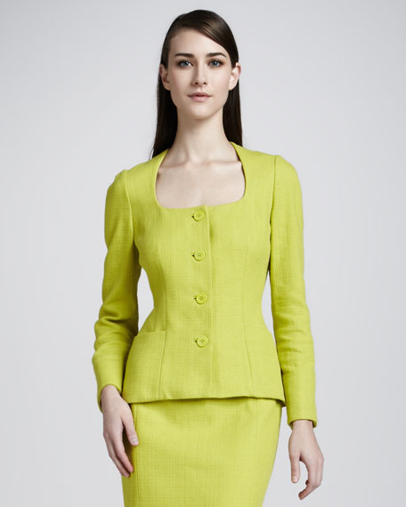 Elouise Four-Button Textured Crepe Jacket