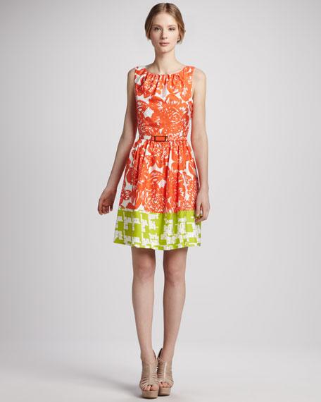 Belted Floral-Print Colorblock Dress