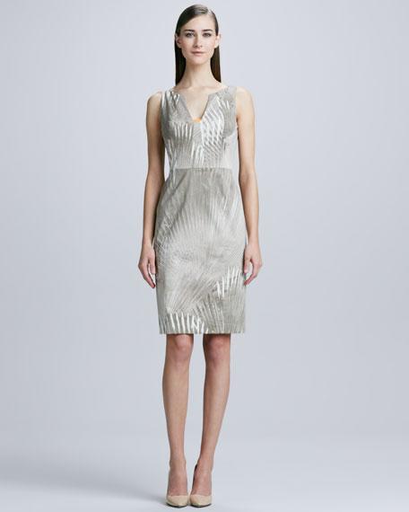 Sahara Nessa Palm-Print Sheath Dress