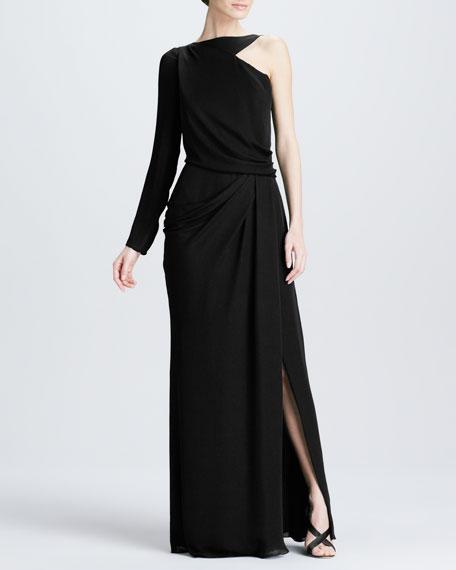 One-Sleeve Georgette Gown, Black