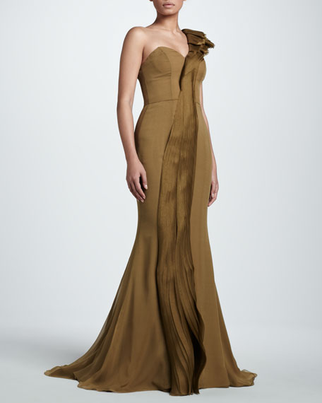 One-Shoulder Organza Gown, Palm