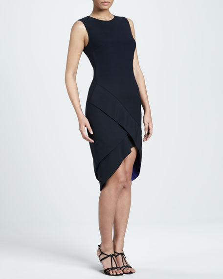 Crepe High-Low Sheath Dress
