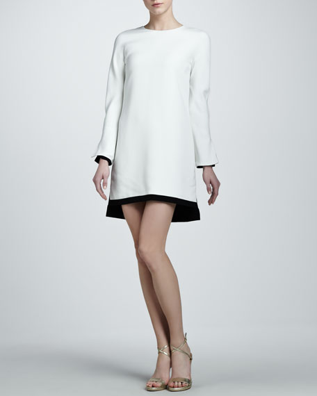 Long-Sleeve Crepe Shift Dress