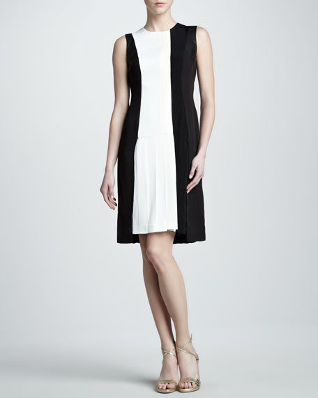 Leather-Panel Colorblock Dress