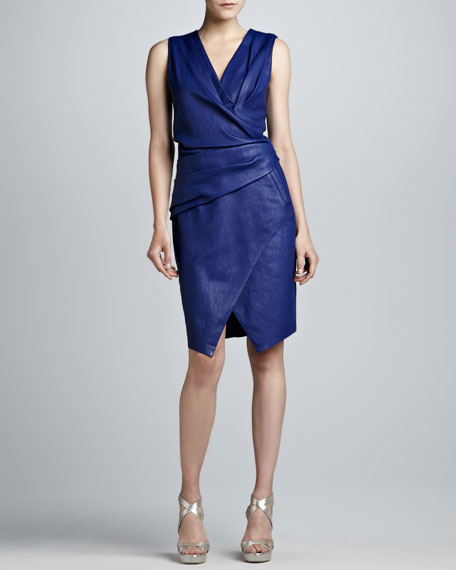 Leather Faux-Wrap Dress