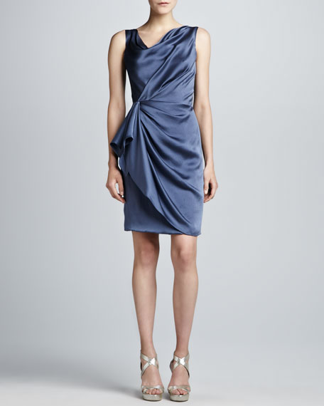 Hammered Silk Wrap-Skirt Dress, Hydrangea