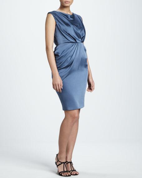 Draped Hammered Silk Dress