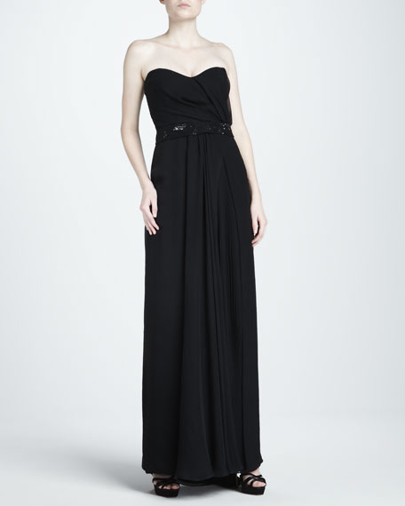 Mousseline Strapless Gown, Black