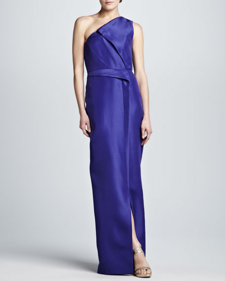 Layered Gazar One-Shoulder Gown, Iris