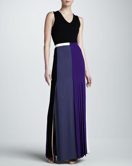 Pleat-Panel Georgette Skirt, Multicolor