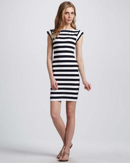 Striped Fitted Stretch Dress