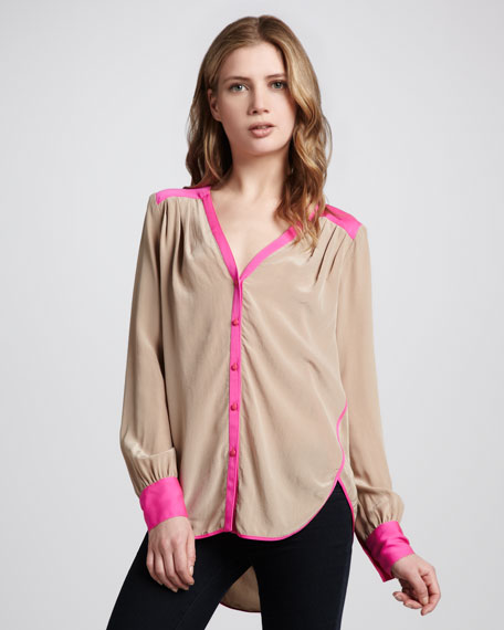 Contrast-Trim Blouse