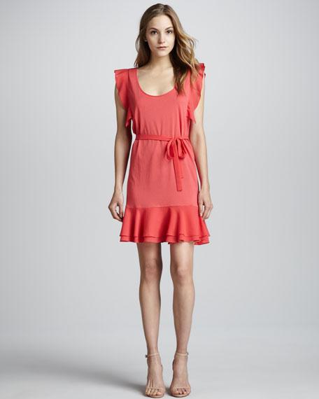 Polly Plains Ruffle-Trim Dress