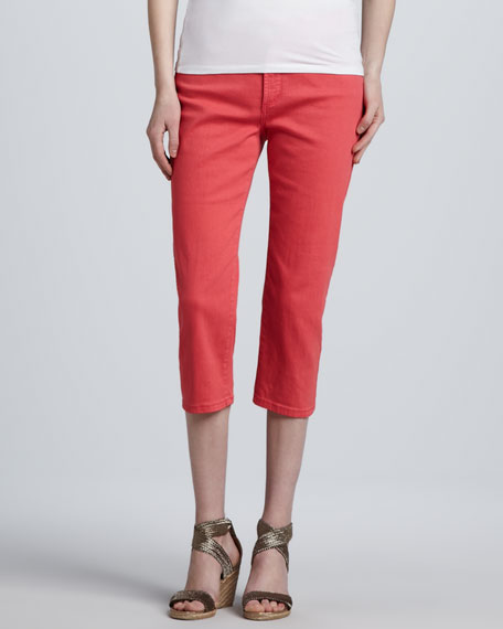 Ariel Bling-Pocket Cropped Jeans, Bright Watermelon