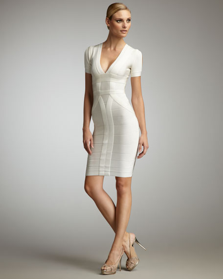 Short-Sleeve V-Neck Bandage Dress