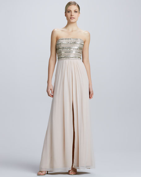 Strapless Chiffon High-Slit Gown