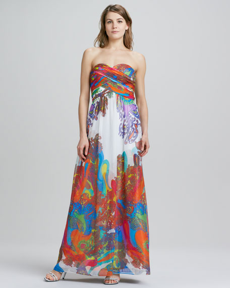 Strapless Floral-Print Chiffon Gown