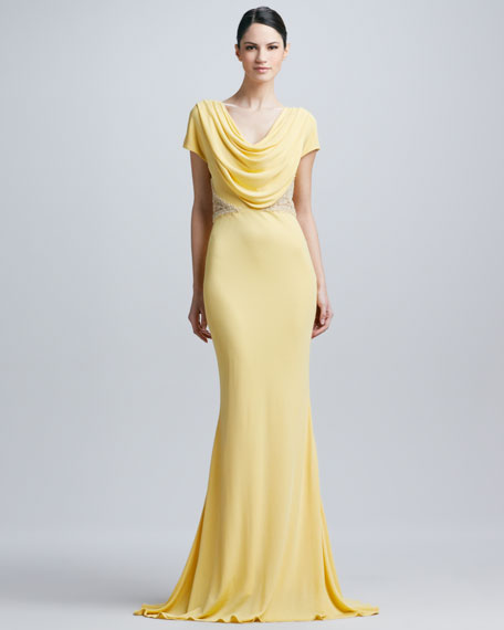 Cowl-Neck Lace-Trim Gown
