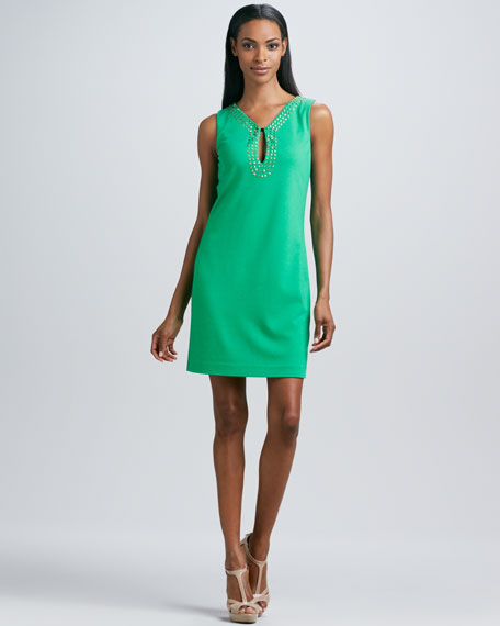 Sleeveless Studded-Keyhole Dress