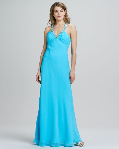 Sleeveless Beaded Front & Back Gown