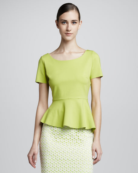 Landon Peplum Blouse, Electric Lime