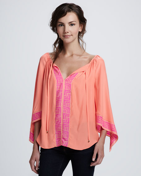 Cory Printed Contrast Blouse