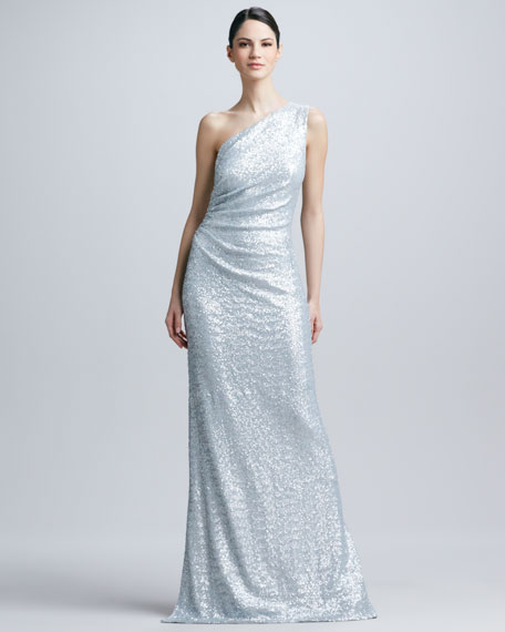 One-Shoulder Sequined Ruched Gown