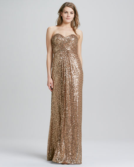 Strapless Sequined Crisscross-Back Gown